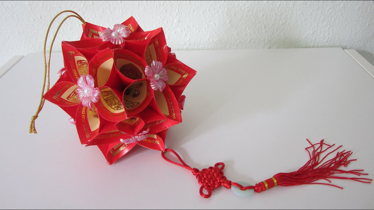 Tutorial how to make a decorative flower ball using ang for Ang pow decoration