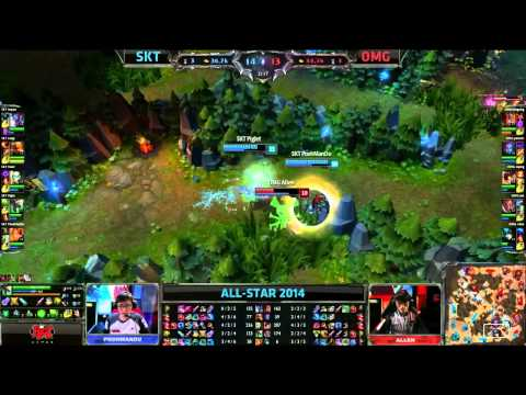 SKT (Faker Orianna) VS OMG (Gogoing Shyvana) Highlights {Epic} -  Allstars Paris 2014