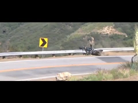 Ducati Monster crashes into guardrail on Mulholland Hwy May13,2012