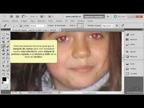 Curso de Photoshop CS5.  10.1. Corregir imperfecciones y ojos rojos.