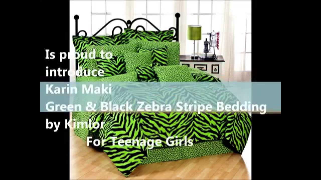 Lime green and black zebra stripe bedding for teenage - Black and lime green bedding ...