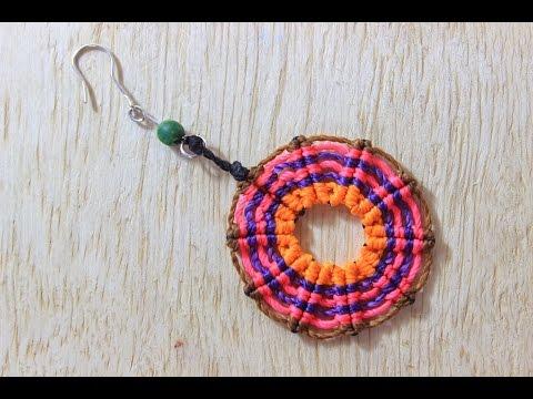 como hacer aretes macrame circulares cavandoli
