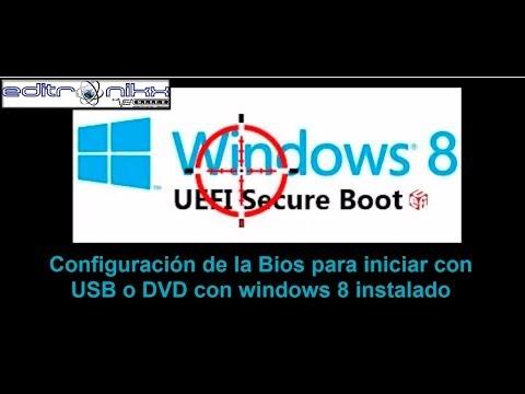 configurar la bios para iniciar con USB o DVD con windows 8 instalado