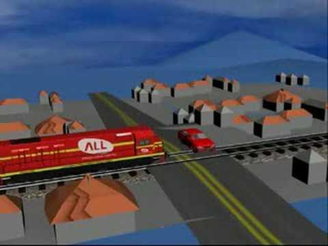 acidente de trem e automovel simulação carro all trilhos