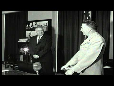 Assistant Secretary of Army Hugh M Milton III shows plaque to others received for...HD Stock Footage