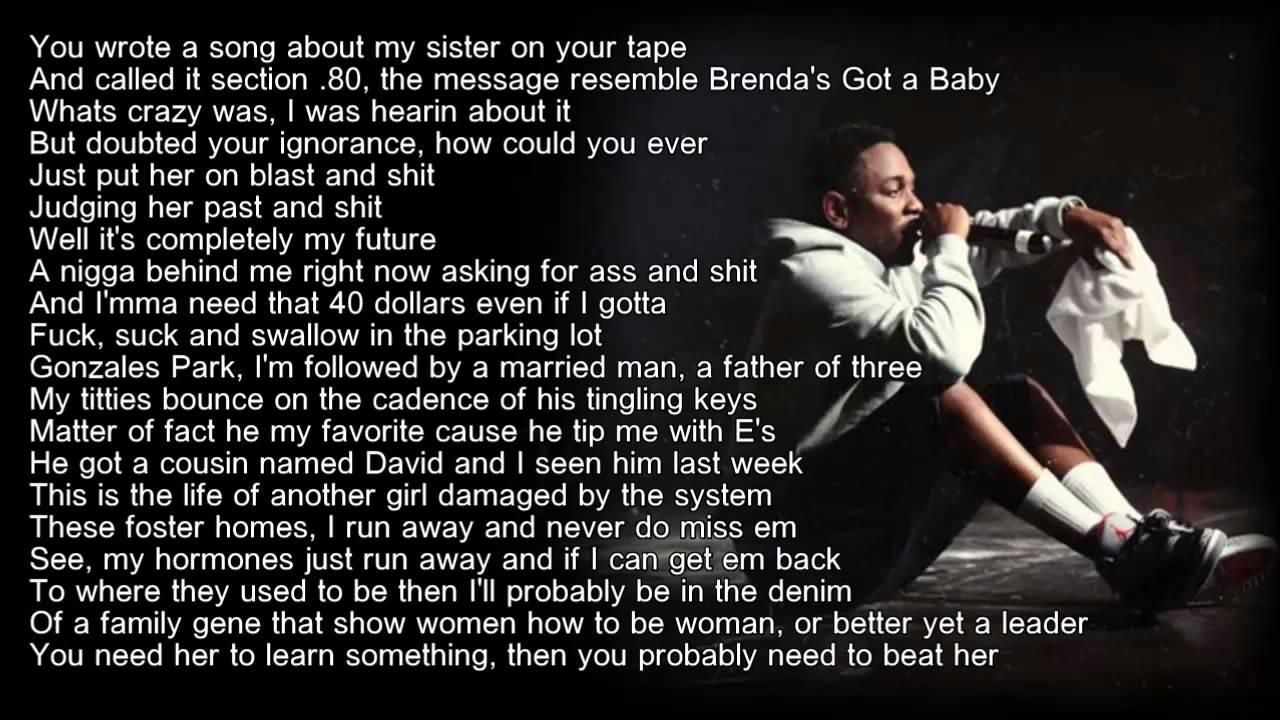 Kendrick lamar sing about me hd lyrics youtube - Kendrick lamar swimming pools lyric ...