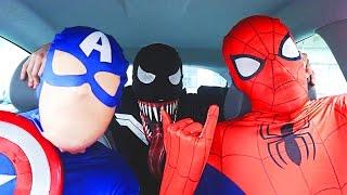 Superheroes Dancing in Car | Spiderman Venom Batman Flash & Captain America Funny Movie in Real Life