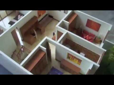 Maqueta casa Guatemala, desmontable y amoblada , escala 1:25,