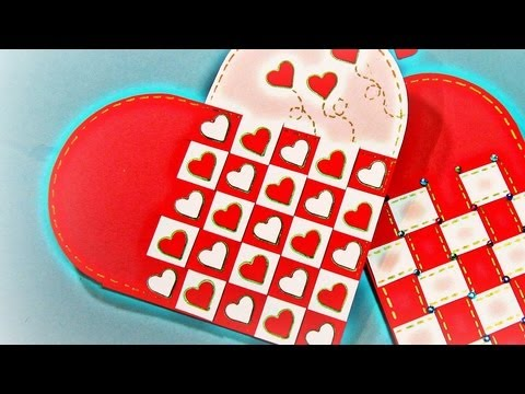 Tarjeta corazón trenzado. Heart card. (San Valentín)