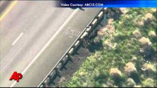 Raw Video: Semi With Cattle Rolls Over