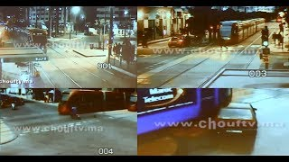 فيديو حصـري..شوفو الكسايد ديال ترامواي الدارالبيضاء من كاميرا للمراقبة  