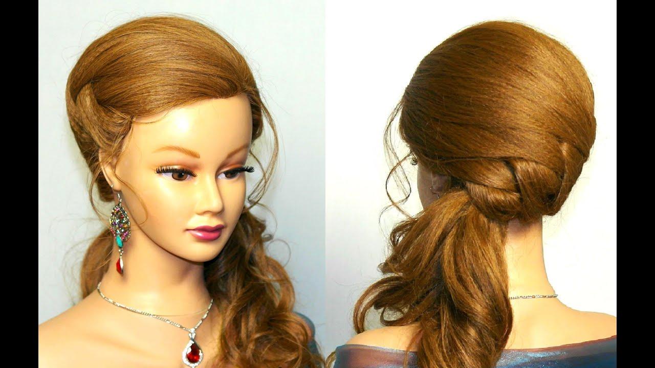 Вечерние прически на длинные прямые волосы без челки фото