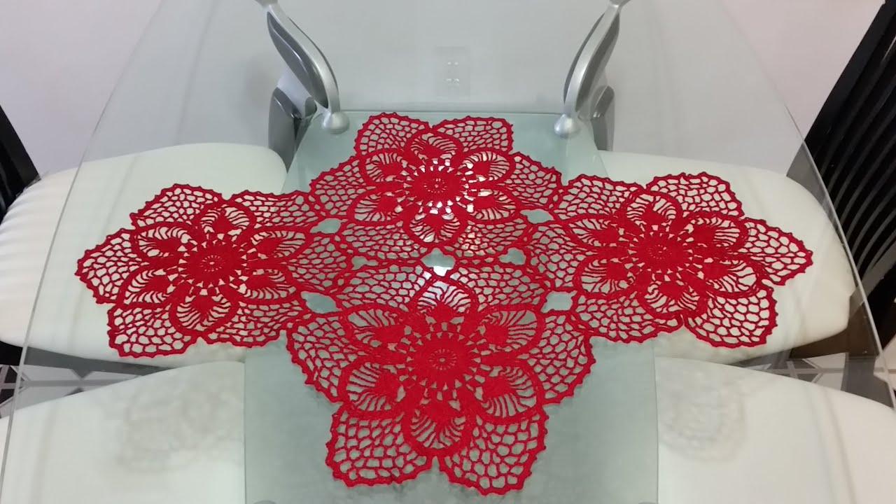 Flor para camino de mesa en crochet 5 youtube for Camino de mesa elegante en crochet