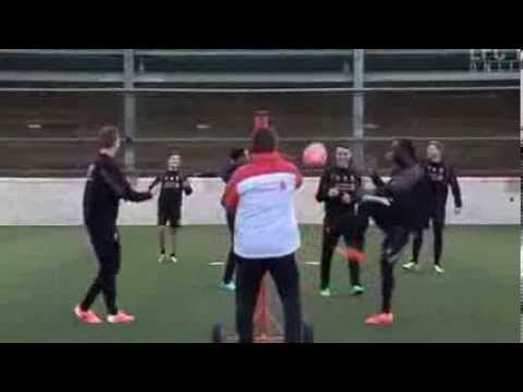 Jordan Henderson's side beat Steven Gerrard's in epic game of head tennis at Liverpool training Vide