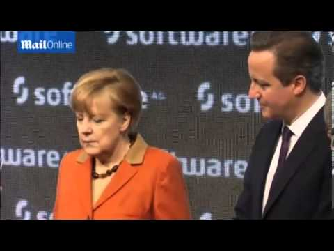 Merkel and Cameron take a tour around CeBIT trade fair