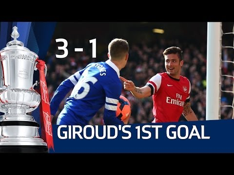 OLIVIER GIROUD 1ST GOAL: Arsenal vs Everton 4-1 FA Cup Sixth Round HD