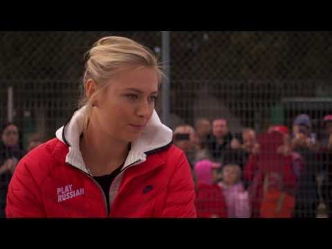 Maria Sharapova Translates Sochi Tennis Court Mural