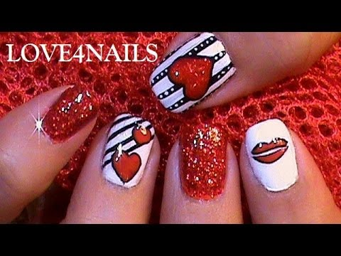 How To Paint Hearts & Kisses On Your Nails ♥ Tutorial
