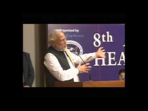 Shri Narendra Modi addressing Global Health Summit, 2014 organised by AAPI at AMA