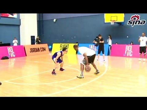 Chris Paul play 1 on 1 with several Chinese basketball broadcasts