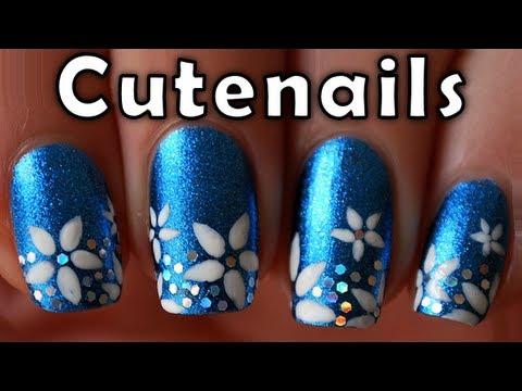 short nails tutorial  cute flowers nail art design  youtube