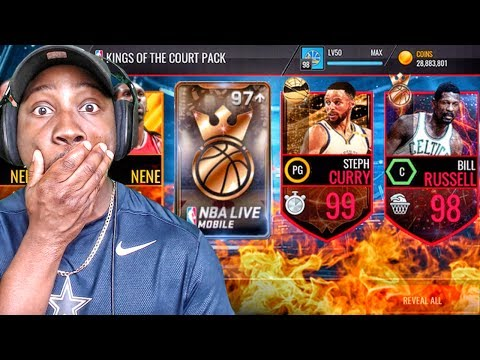 KINGS OF THE COURT PACK OPENING w/97 + OVR MASTER! NBA Live Mobile 16 Gameplay Ep. 129