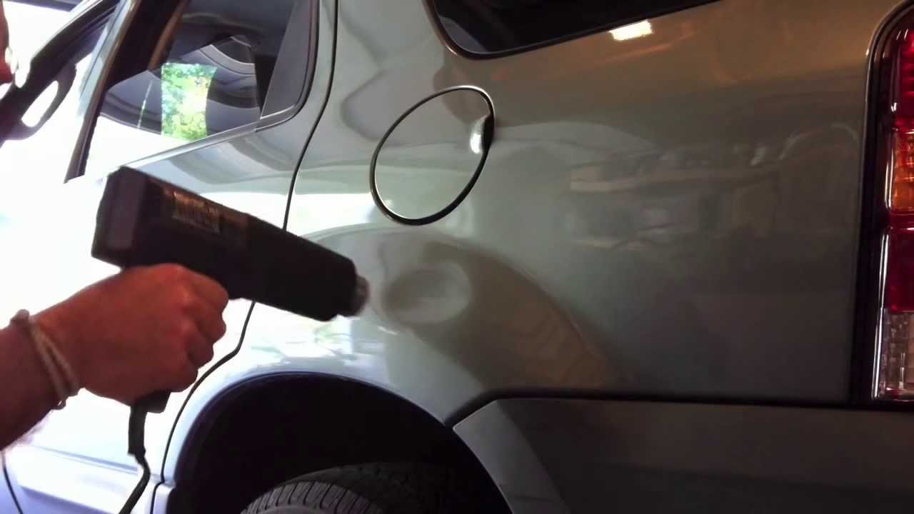 Paintless Dent Repair Using A Heat Gun And A Can Of