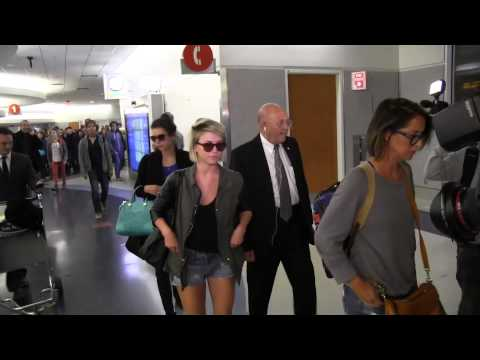 Nina Dobrev and Julianne Hough arrives at LAX after vacationing in Miami