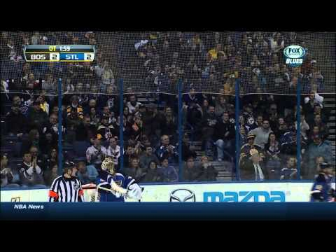 T.J. Oshie wrist shot OT goal 3-2 Boston Bruins vs St. Louis Blues  2/6/14 NHL Hockey.