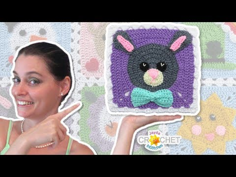 Bunny Rabbit Blanket Square - Crochet Motif - April