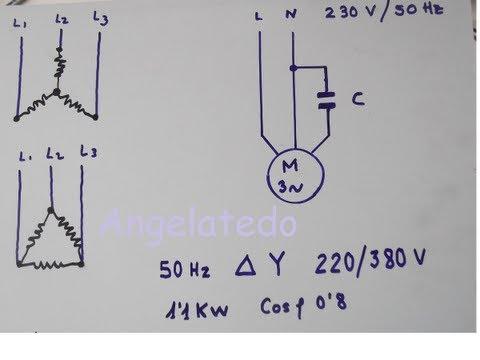 Cómo conectar un motor trifásico 220/380V  a 220 V monofásico con condensador.