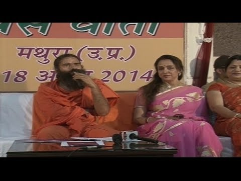 Hema Malini with Swami Ramdev in Press Conference | Mathura, UP - 18 April 2014