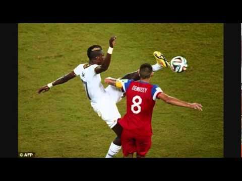 USA vs Ghana defender John Boye kicks Clint Dempsey in the face