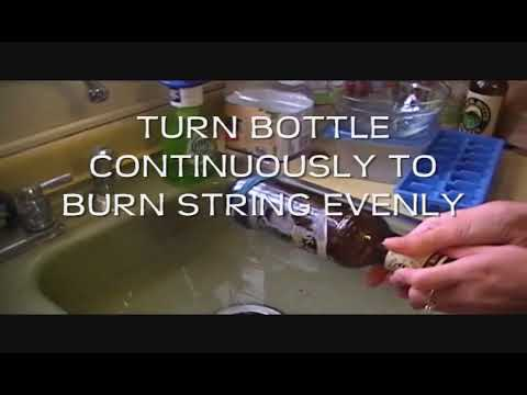 How to cut a bottle using household items youtube for Cutting glass with acetone
