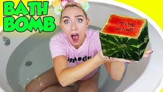 GIANT SQUARE WATERMELLON BATHBOMB! LEARN HOW TO MAKE A COOL BATHBOMB! | NICOLE SKYES