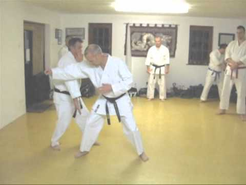 TOM HILLS DOJO - Goju Karate - Self defense & take down sweep from Mae Geri, Kizami Tsuki attack
