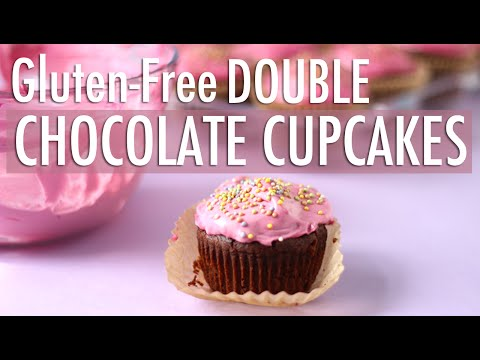 Double Chocolate Cupcakes w/ Pink Buttercream Frosting | Gluten Free & Dairy Free