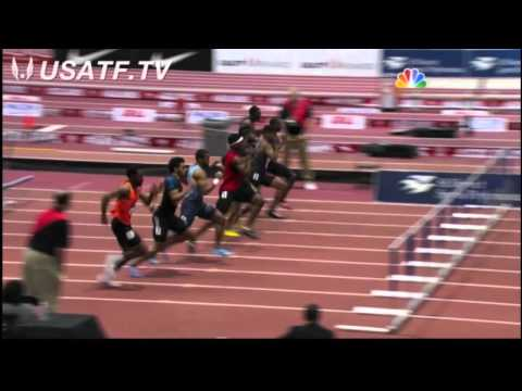 Mens 60m Hurdles Final - USA Indoor Track and Field Championships 2014