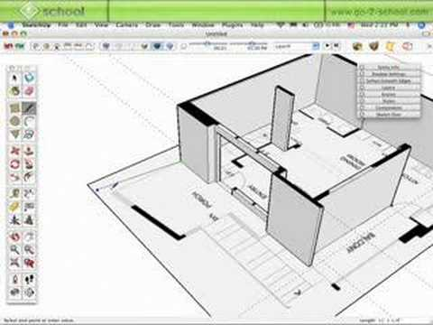Model a house in sketchup pt 2 sketchup show 28 for Turn floor plan into 3d model