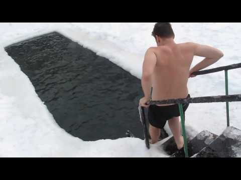 Swiming in ice cold water in Russia