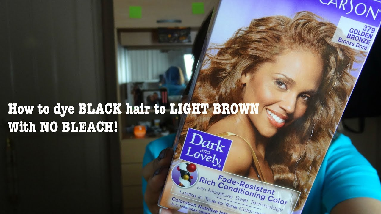 How to dye black hair to golden brown without bleach || KUWR - YouTube