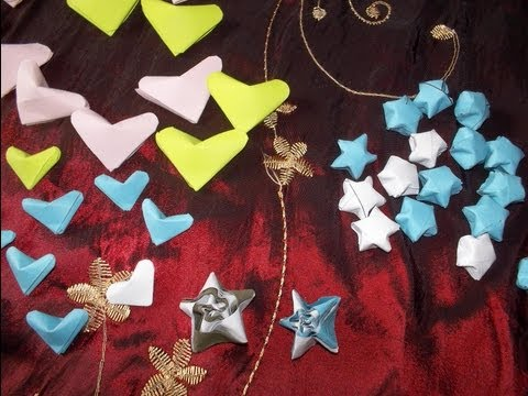 estrellitas, corazones, estrellas espiral, en papel