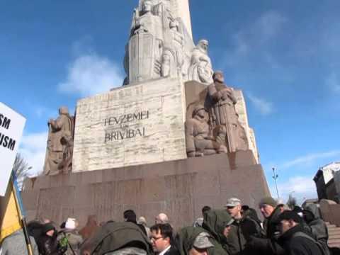 Riga 16. März 2014, Tag der Legionäre, Ankunft des Marsches, Protest