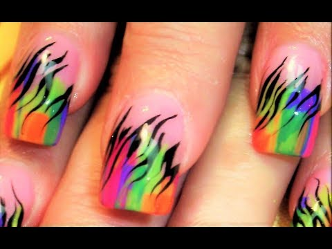 Rainbow NEON Zebra Nails ! Cutest ever!! :D,