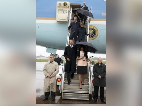 Inside Air Force One, President's Going To Mandela Memorial, Obama's, Clinton's & Bushes