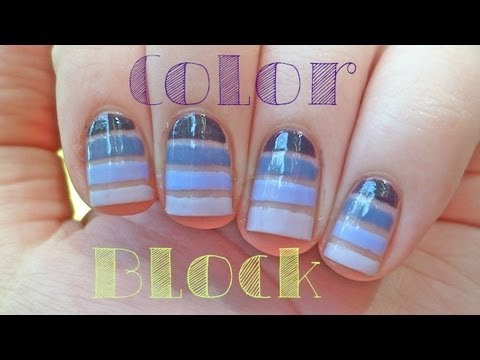 1MNT: Purple Color Block Ombre Nails