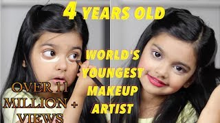 The world's youngest makeup artist does her makeup! 4 Years old!