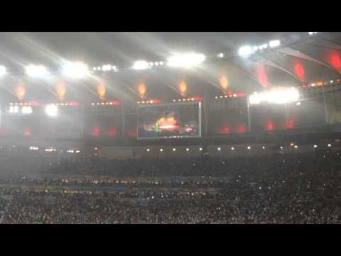Official FIFA 2014 World Cup Anthem 'Dar Um Jeito' playing to the fireworks display, Rio