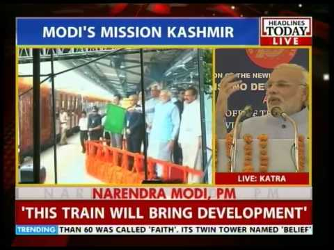 PM Modi flags off Katra-Udhampur train
