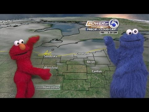 Elmo and Cookie Monster do the weather with Power of 5 meteorologist Jason Nicholas